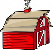 picture of red barn  - Barn Vector Illustration - JPG