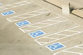 picture of parking lot  - handicap parking spaces in a parking lot - JPG