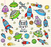 Outer Space Doodle notebook Elements Vector Illustration Set