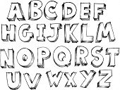 foto of alphabet letters  - Sketchy Alphabet Letters Vector Illustration - JPG