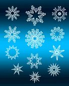 Silver Star Snowflakes Collection Over Blue Gradient