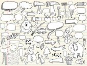 Notebook Doodle Speech Bubble Design Elements Mega Vector Illustration Set