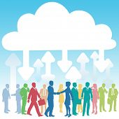 Company people doing business in IT cloud computing environment