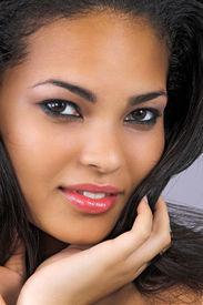stock photo of beautiful woman  - beautiful woman with long black hair wearing make - JPG