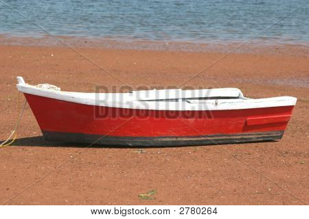 Wooden Red Row Boat