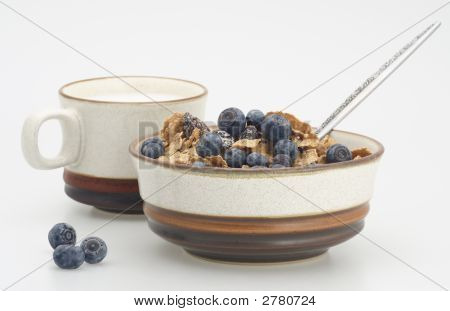 Milk And Cereal With Blueberry