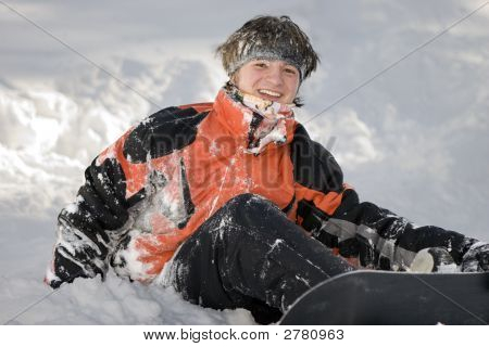 A Health Lifestyle Image Of Young Adult Snowboarder After Incidence