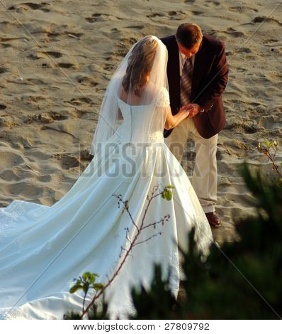 A Bride and Groom exchanging vows on the beach.