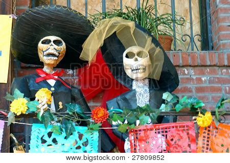 Paper mache figure for  Día de los Muertos - Day of the Dead Celebrations on Olevera Street, Los Angeles, California