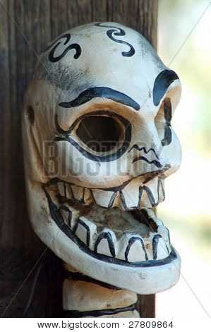 Paper mache mask for  Día de los Muertos - Day of the Dead Celebrations on Olevera Street, Los Angeles, California