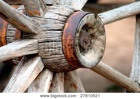 Hub of an old wagon wheel