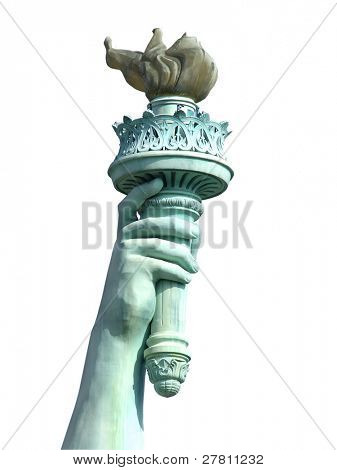 Isolated torch and hand of the Statue of Liberty