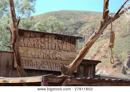 A hangman's noose outside the Marshall's office in the desert mining town of Calico