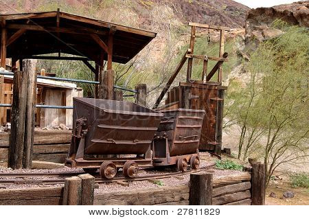 Silver mine and ore cars circa 1890's in the Silver boomtown of Calico California