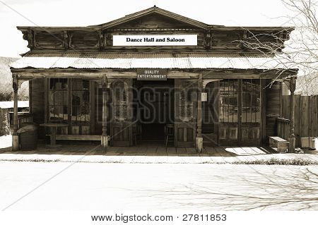 Old time Dance Hall and Saloon in a  circa 1890's Silver boomtown