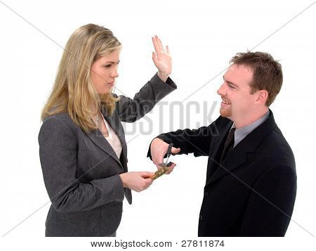 Businessman gets slapped by a businesswoman for trying to cut up her credit card, isolated over white