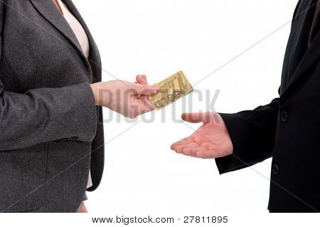 A businesswoman handing her credit card to an associate , isolated over white