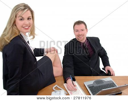 Co-workers caught in a compromising position in the office, isolated over white
