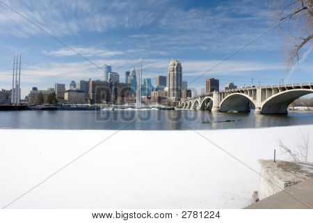 Urban Minneapolis Across Icy River