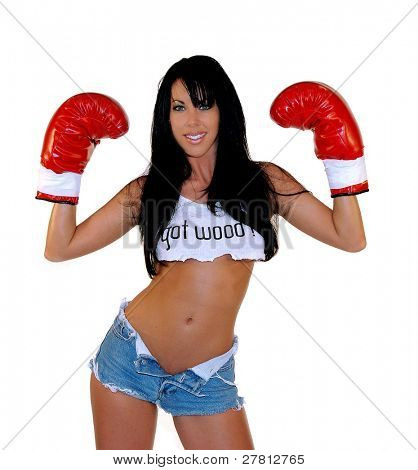 "Sexy woman in boxing gloves and asking if you ""Got Wood"""