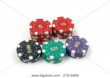 Multi denominational stack of casino chips