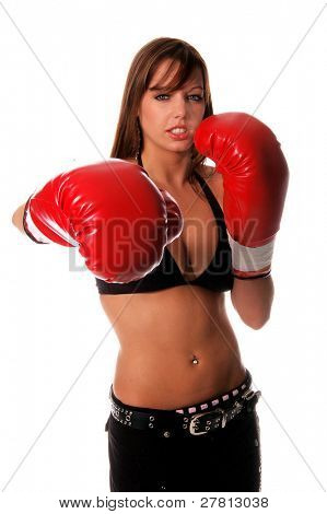 Sexy redheaded in bikini top and boxing gloves ready to go a few rounds for your company isolated over white