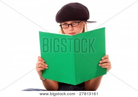 Young girl in cute and glasses is a book worm
