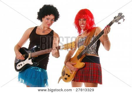Glam Rock girls rocking out on Electric guitar and Bass Isolated over white.