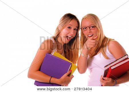 Two blond high school senior girls hanging out and sharing the local gossip dish