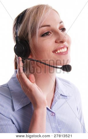 Customer service representitive talking on the phone with a wireless headset