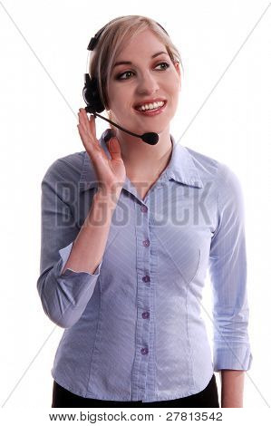 Customer service representative talking on the phone with a wireless headset