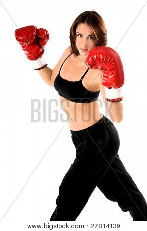 Sexy and well fit female boxer ready to fight