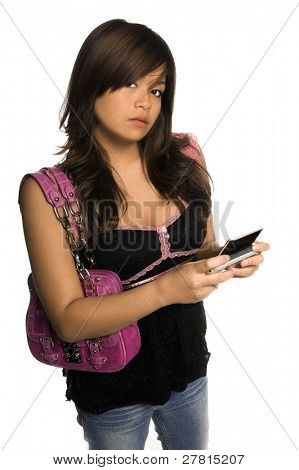 Beautiful young Asian woman using a wireless TTL enabled device for the deaf to send text, sms or IP Relay calls