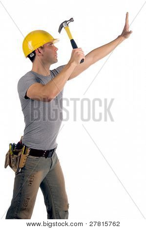 Construction worker in a hard hat and tool belt