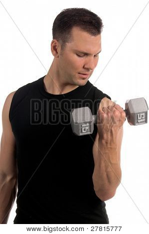 Young adult male working out with  dumbells