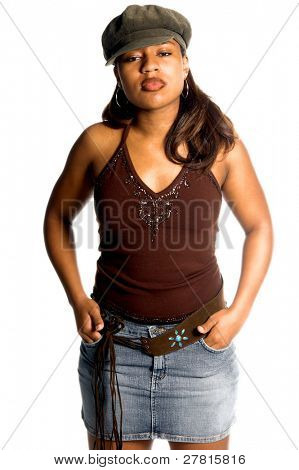 Sexy inner city African American woman in a denim skirt and knit cap