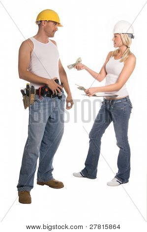 A female construction Foreman pays her male crew member in cash