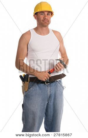 Construction worker in a hard hat and tool belt and a hammer