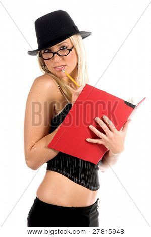 Beautiful and sexy young blonde gangster accountant girl in a pinstripe hat and corset top with the company ledger