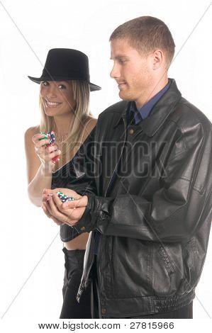Suerte en la forma de una bella y sexy joven rubia l en una columna superior de tela a rayas, sombrero y corsette