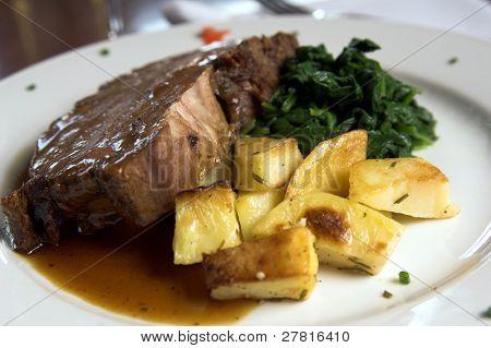 Prime Rib und Spinat und Bratkartoffeln
