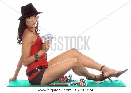 Sexy woman in a sexy low cut red blouse, black hot pants and  black suede fedora hat playing Texas Hold 'um poker and smoking a big cigar Generic no label card backs from China