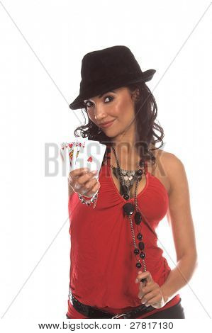 Sexy woman in a sexy low cut red blouse and  black suede fedora hat playing Texas Hold um poker Generic no label card backs from China