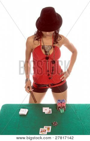 Sexy woman in a sexy low cut red blouse and  black suede fedora hat playing Blackjack Generic no label card backs from China