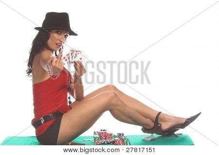 Sexy woman on a poker table showing a hearts Royal Flush and giving the finger to the camera Generic no label card backs from China