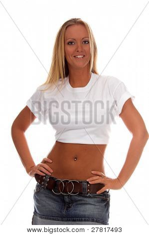 Beautiful blond woman in a clean white t-shirt ready for your logo or trademark