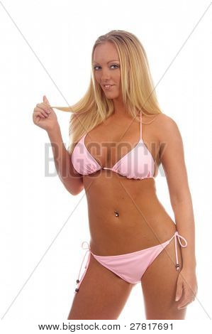 Beautiful blond in a pink bikini