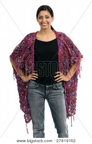 Left profile of a beautiful young Mexican woman in jeans and a black shirt and a purple couture feather wool shawl of