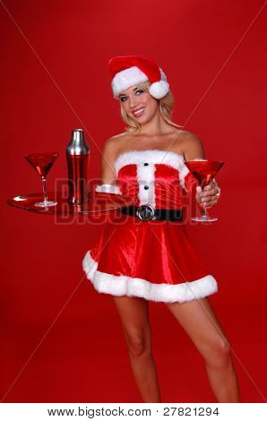 After a long days work Santa is greeted by his sexy helper with a fresh Christmas Martini