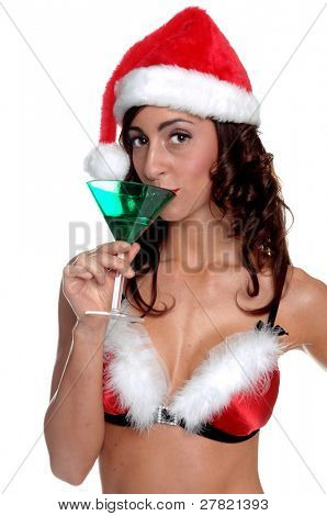 After a long days work Santa sexy helper enjoys a fresh Christmas Martini